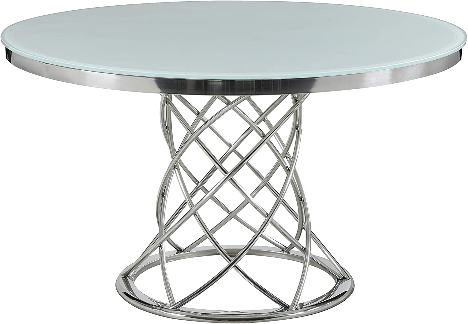 Coaster Home Furnishings Irene Round Glass Top White and Chrome Dining Table