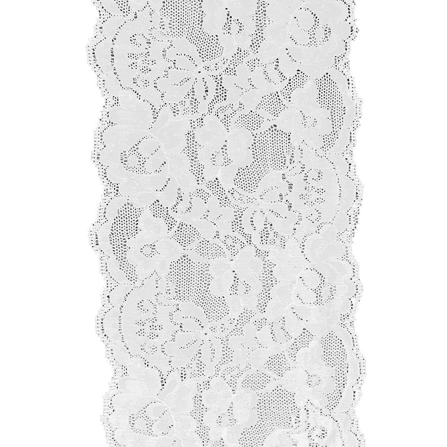 ハブブ感謝するインスタンスハートとお花 刺繍のチュールレース9.5センチ幅 5ヤード 生成り 1反