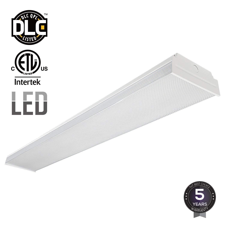 LEONLITE 40W 4FT LED Wraparound Garage Shop Light Flush Mount Ceiling Light, 100W Equiv. Ultra Bright 4000lm, Daylight 5000K