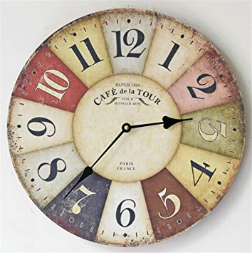 Wmshpeds Unión Pastoral relojes de pared de madera maciza pintada salón moderno relojes de pared creative relojes antiguos reloj silencioso tabla colgantes: ...