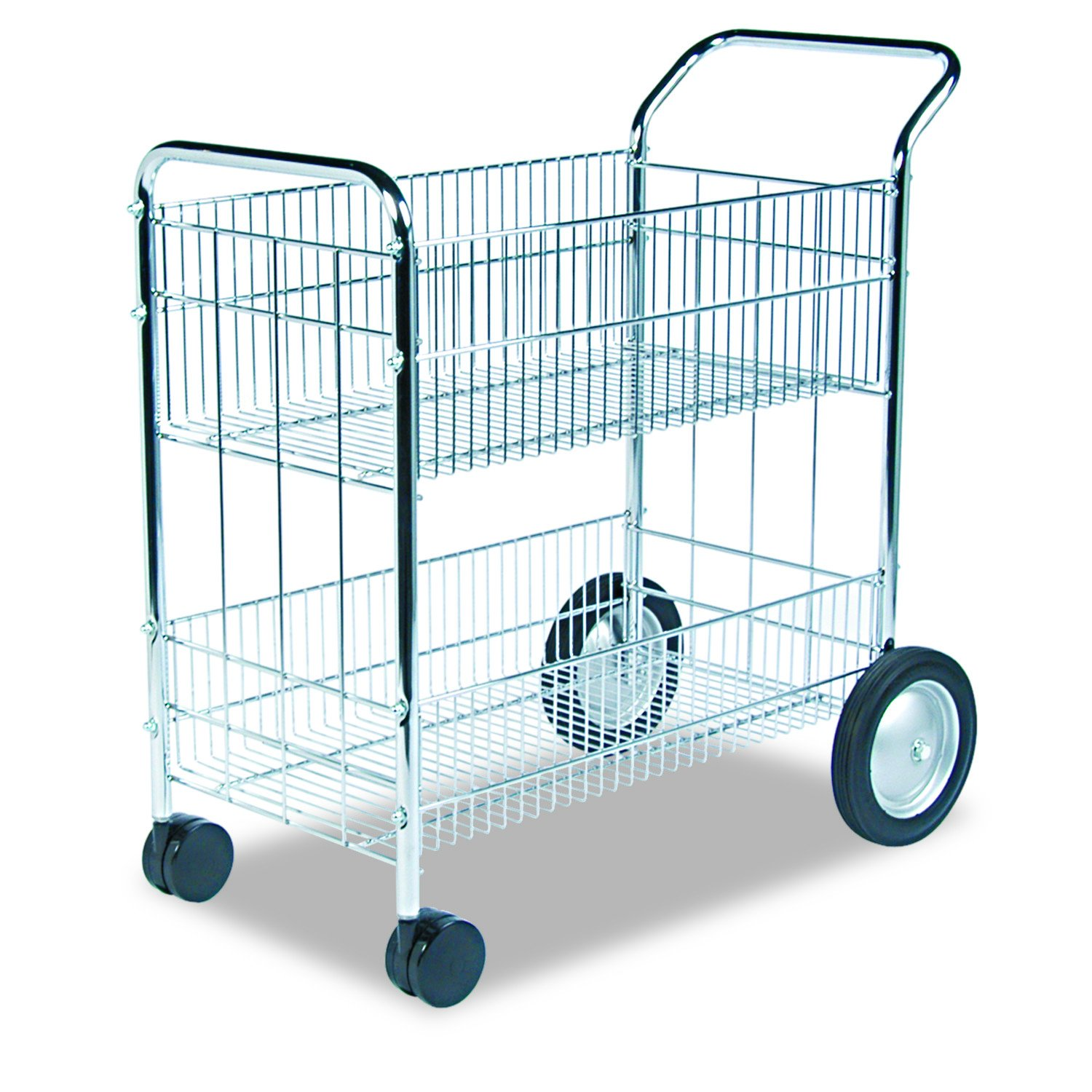 Fellowes 40912 Wire Mail Cart, 21-1/2w x 37-1/2d x 39-1/4h, Chrome by Fellowes