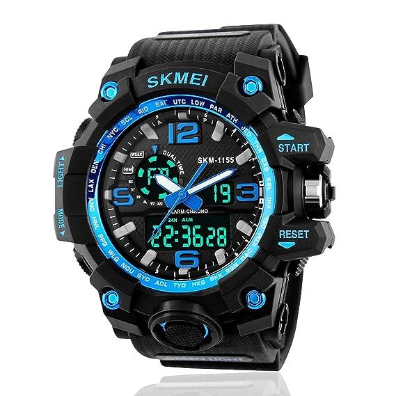 Reloj deportivo masculino, diseño moderno con luz LED, esfera analógica y digital, estilo militar, resistente al agua, color azul: Amazon.es: Relojes
