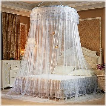 Bett Vorhänge Baldachin Für Mädchen Kinder Rund Dome Romantische Groß  Moskitonetzen, Polyester, Weiß,