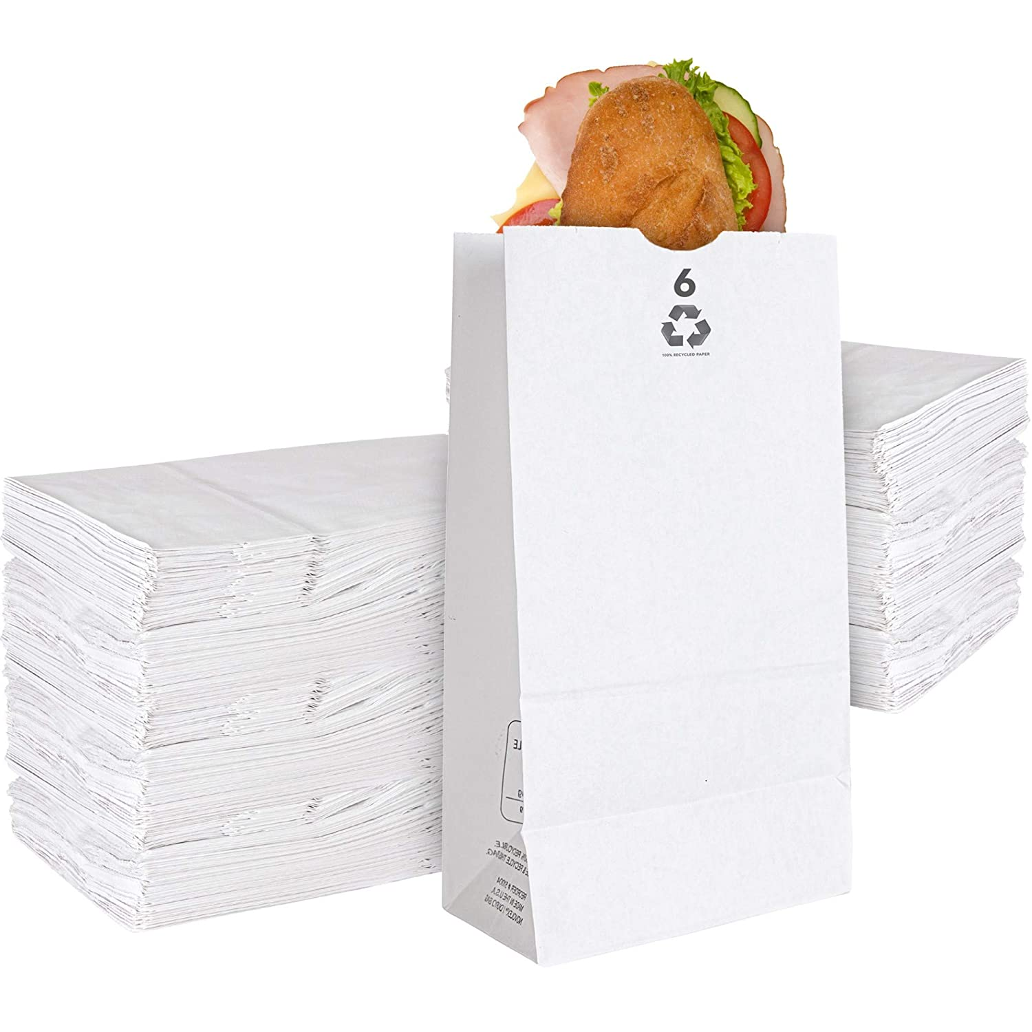 Stock Your Home 6 Lb White Paper Bags (200 Count) - Eco Friendly White Lunch Bags - Small White Paper Bags for Packing Lunch & Snacks - Blank White Lunch Bags Paper for Arts & Crafts Projects