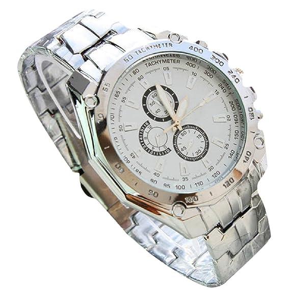 Tonsee 2015 moda tres ojos seis agujas de acero hombres de negocios reloj para novio regalo color blanco: Amazon.es: Relojes