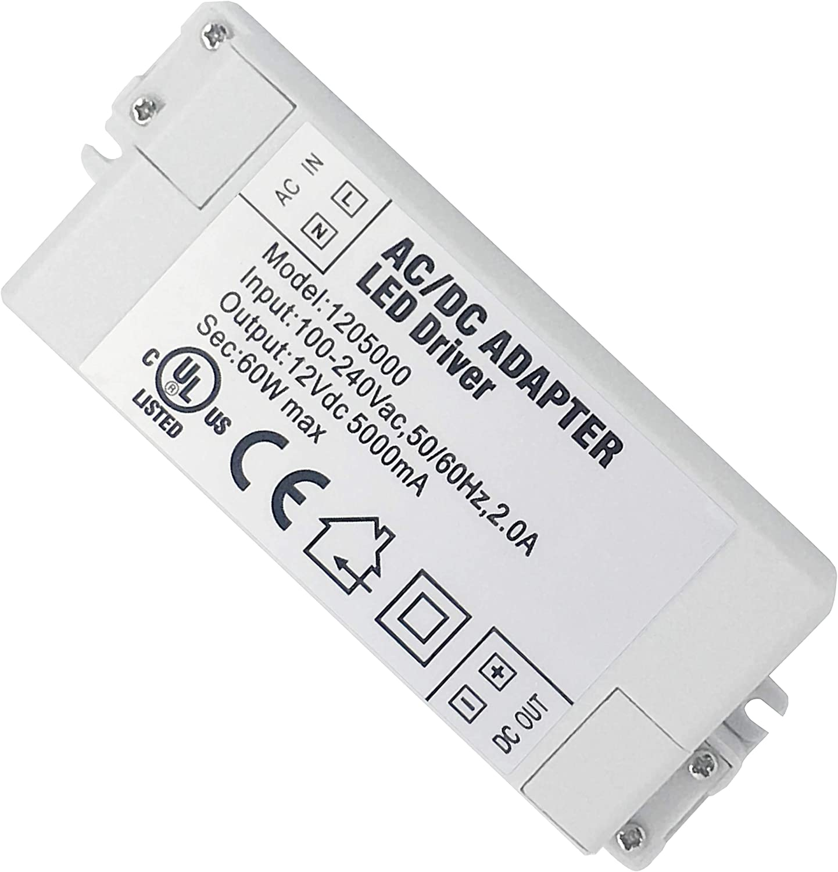 Adaptador LED VARICART IP44 12V 5A 60W, Fuente de Alimentación Conmutada Regulación Universal AC DC, Transformador Constante Voltaje, Cámara CCTV, Tira de Luz, G4 MR11 MR16 GU5.3 Bombilla (Pack de 1)