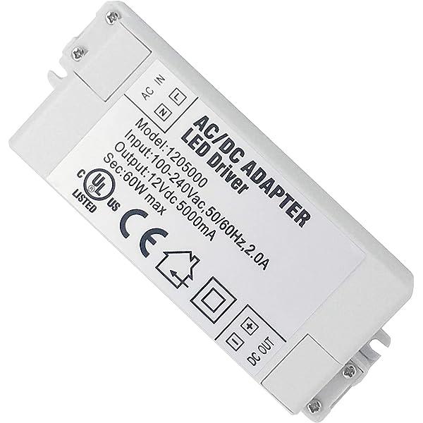 pour LED Bande lumineuse JZK LED Conducteur 12V 60W 5A Transformateur Transformateur de LED AC 100-240V /à DC 12V 60W 5A