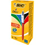 Bic Stylo à  bille rétractable 4 couleurs Pointe Fine Corps Orange/Blanc - Lot de 12