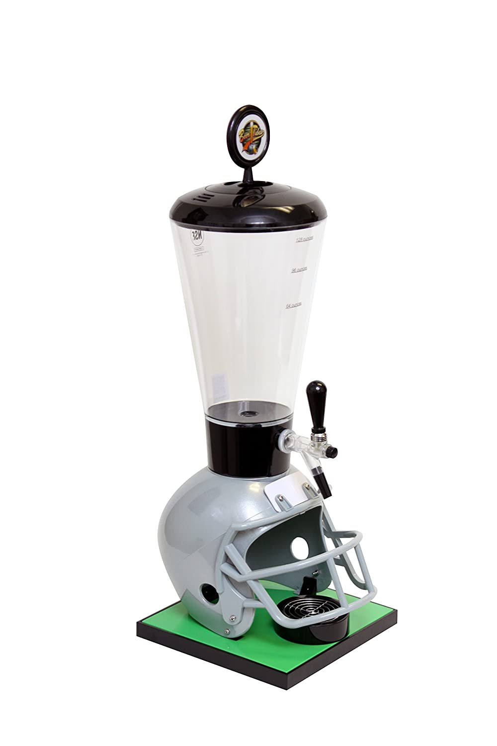 Beer Tubes Grey Football Helmet Beverage Tower Dispenser with Commercial Tap, 128 oz. Super Tube, FGR-ST-C