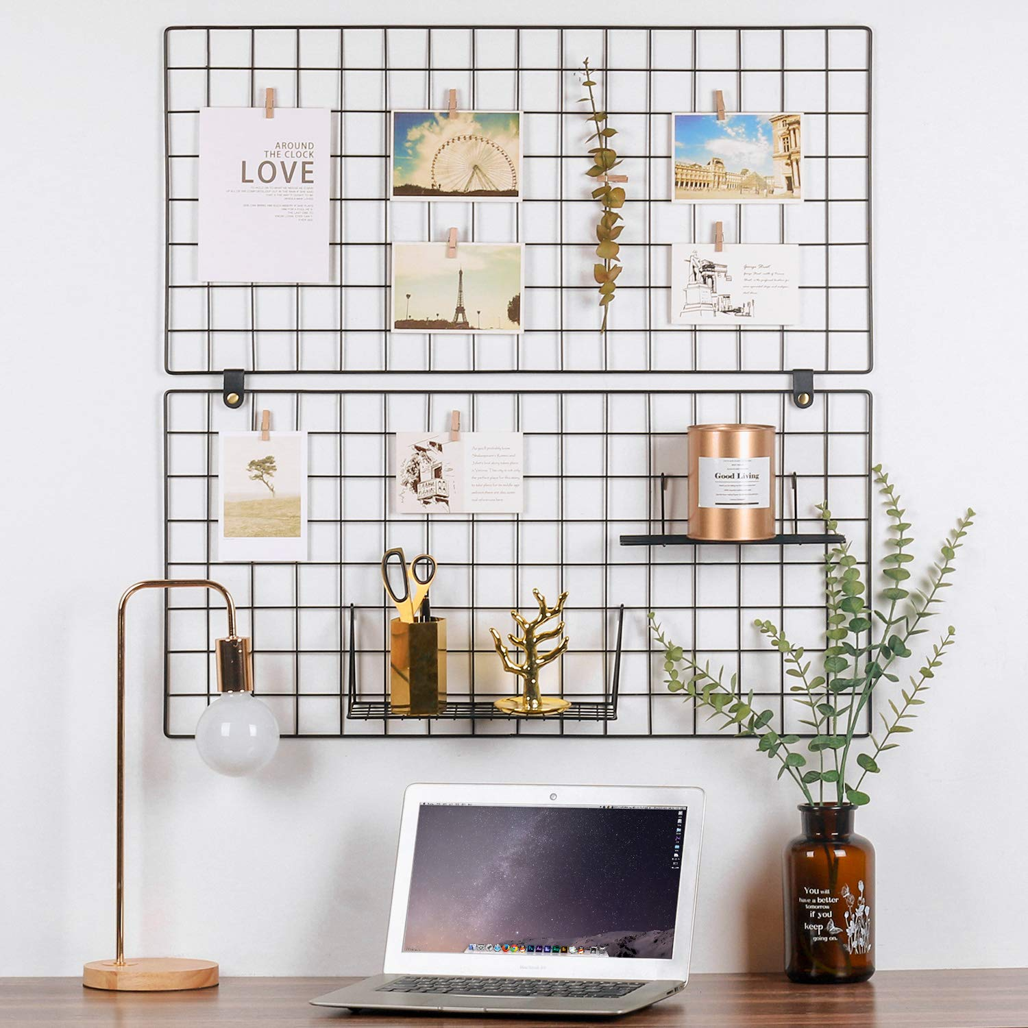 Kufox Painted Wire Wall Grid Panel, Multifunction Photo Hanging Display and Wall Storage Organizer, Pack of 2, Size 31.5'' x 15.8'', Black by Kufox