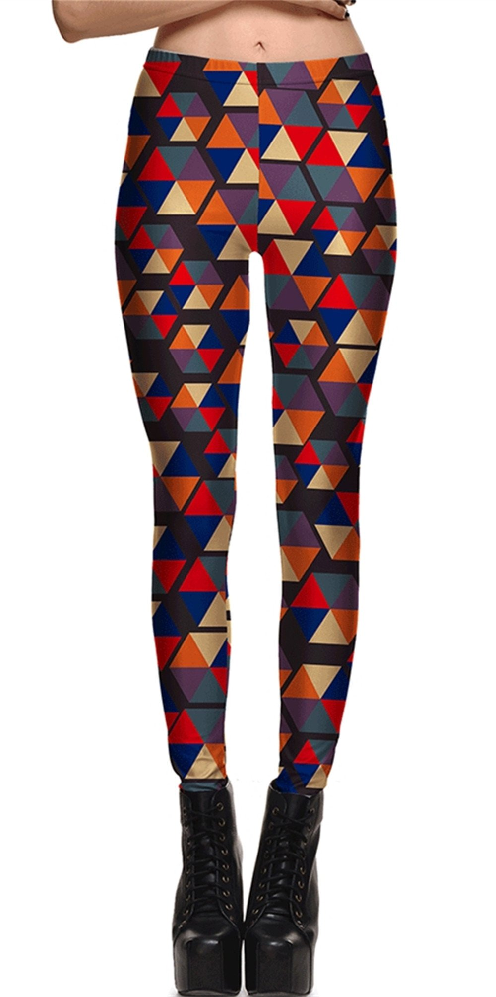 Hoyou Funky Print Leggings For Women Galaxy Floral Tribal Sexy Smooth Crazy Patterned Pants Slimming Girls Rectangle S