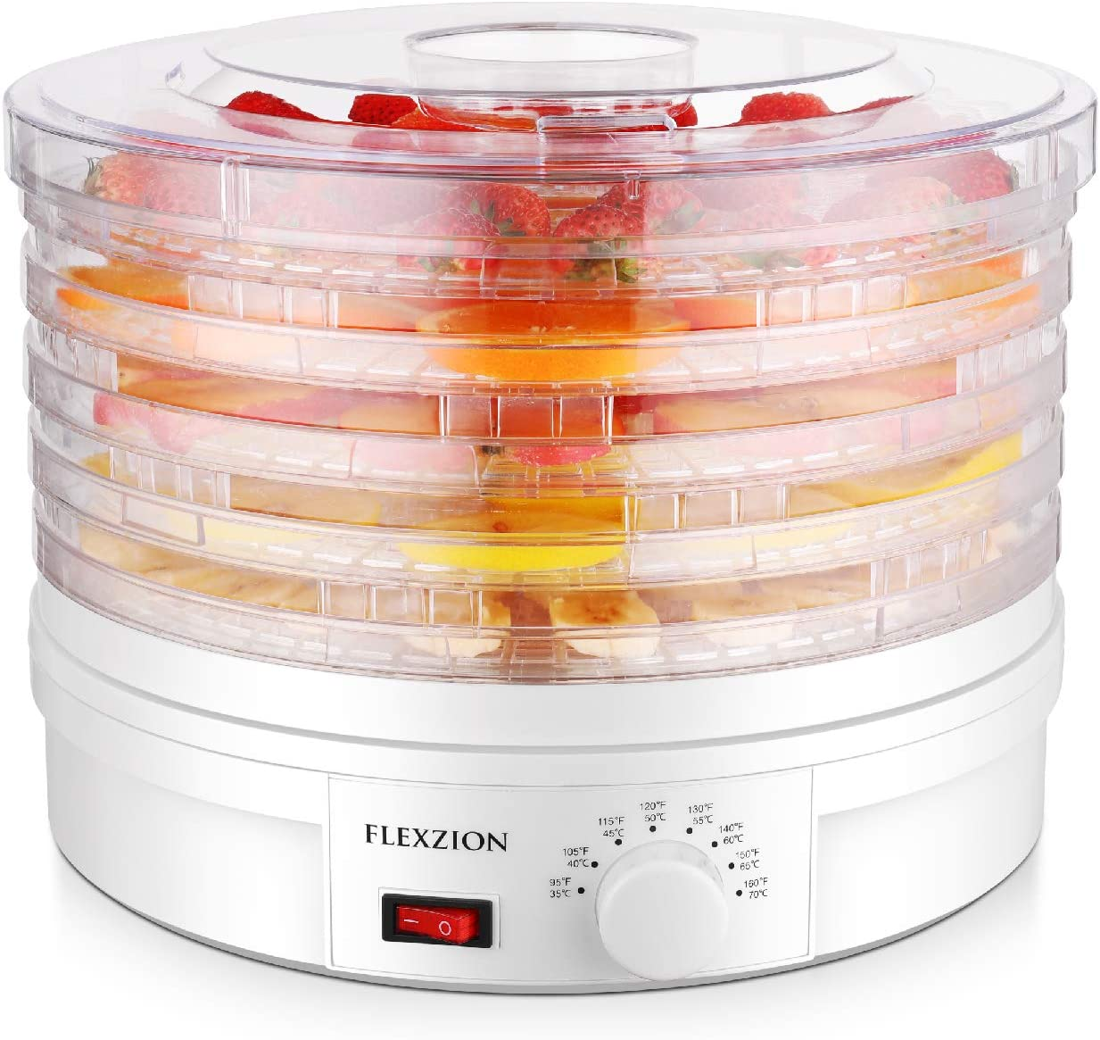 Flexzion Dehydrator for Food Fruit – Electric Food Saver Fruit Dehydrator Preserver Dry Fruit Dehydration Machine with 5 Stackable Tray