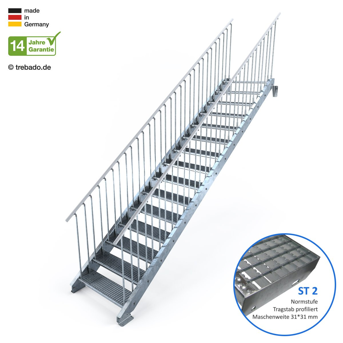 feuerverzinkte Stahltreppe mit 900 mm Stufenl/änge als montagefertiger Bausatz Au/ßentreppe 15 Stufen 90 cm Laufbreite beidseitiges Gel/änder Gitterroststufe ST2 Anstellh/öhe variabel von 250 cm bis 300 cm