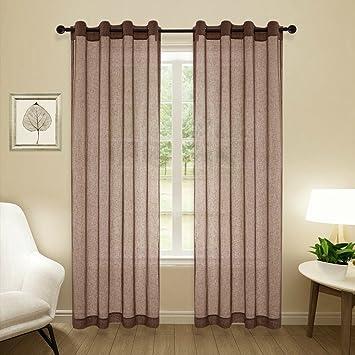 Amazon.com: Fairmont 84 Inch Faux Linen Sheer Curtains/Panels ...