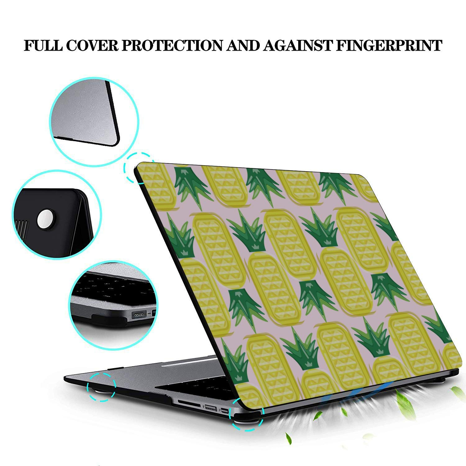 MacBook Air Laptop Case Summer Romantic Fruit Cute Pineapple Plastic Hard Shell Compatible Mac Air 11 Pro 13 15 Accessories for MacBook Pro Protection for MacBook 2016-2019 Version