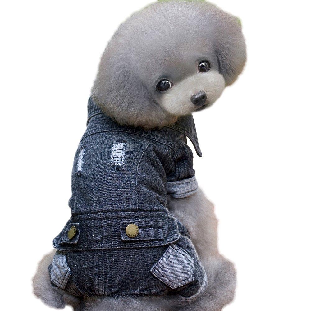 Patgoal Pet Dog Denim Coat Winter Jumpsuit Jean Pants Puppy Apparel Jacket