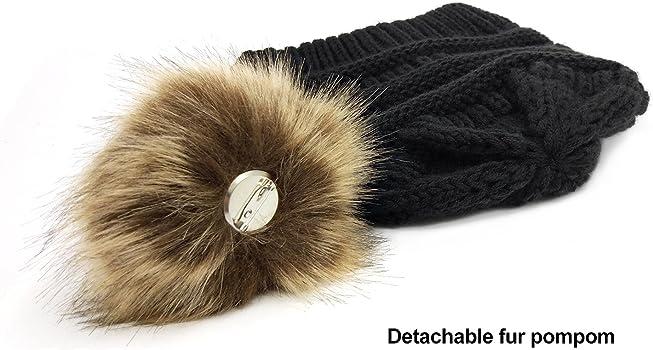 357a9d11b28 Pom Pom Beanie Hat Chunky Winter Knit Hat Stretch Faux Fur Skull Cap. Lamdgbway  Pom Pom Beanie Hat Chunky Winter Knit Hat Stretch Faux Fur Skull Cap Black