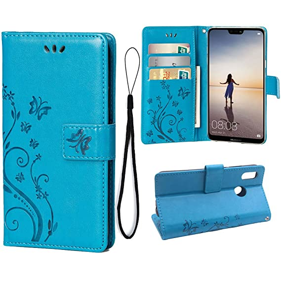 best cheap 2ca46 b67e6 Wallet Case for Huawei P20 LITE, 3 Card Holder Embossed Butterfly Flower PU  Leather Magnetic Flip Cover for Huawei P20 LITE(Blue)