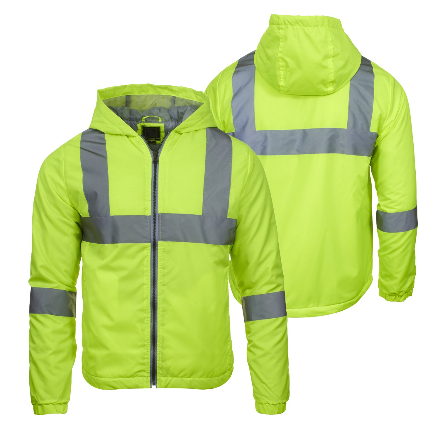 Arctic Quest Mens Lightweight Full Zip Hoodie Jacket Reflective Detail Safety Yellow Large