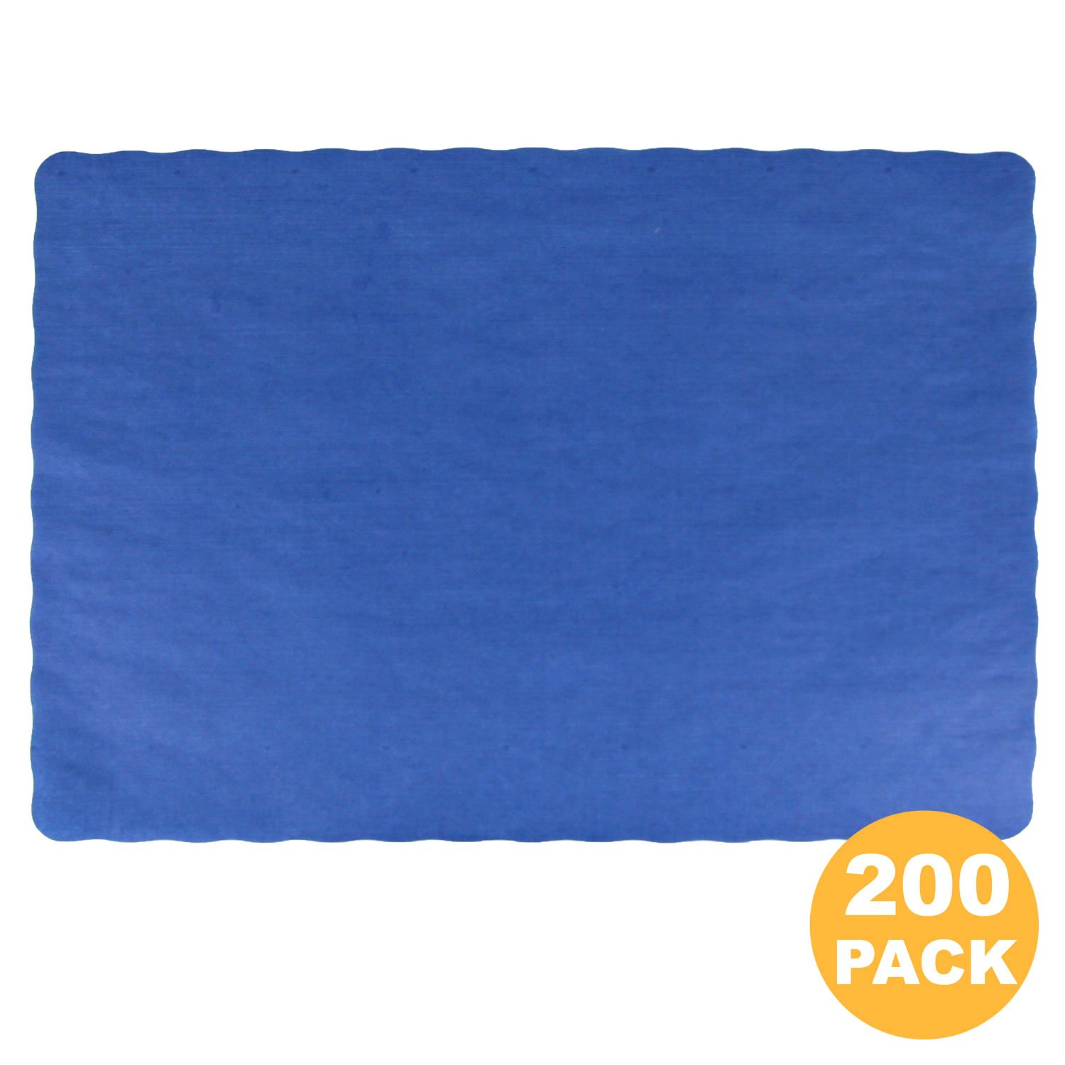 Disposable 14 x 10'' Plain Navy Blue Paper Placemat with Decorative Wavy Scalloped Edge [200 Pack]