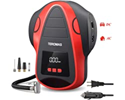 TEROMAS Tire Inflator Air Compressor, Portable DC/AC Air Pump for Car Tires 12V DC and Other Inflatables at Home 110V AC, Dig