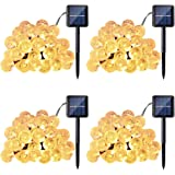Qedertek 4 Pack Globe Outdoor Solar String Lights, 20ft 30 LED Crystal Ball String Lights, 8 Modes Fairy Lights for Home, Patio, Lawn, Garden, Gazebo, Party and Holiday Decorations(Warm White)