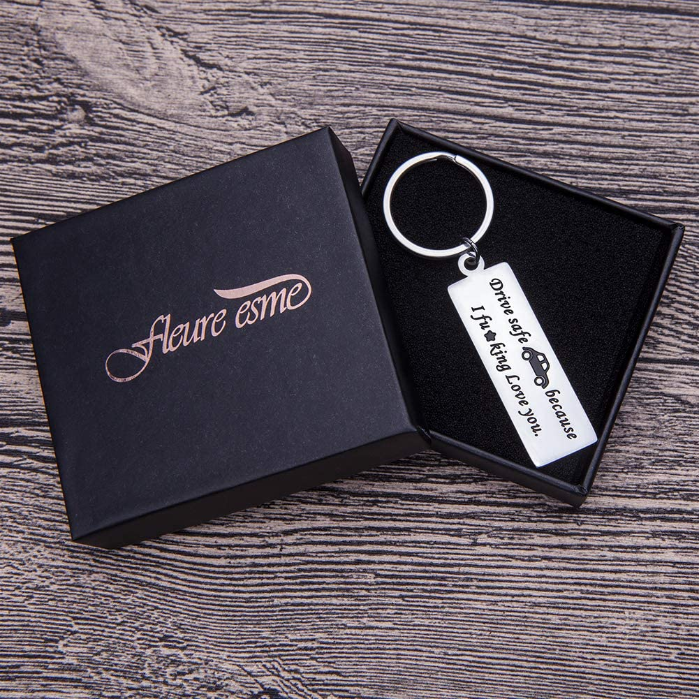 Drive Safe Keychain for Men Personalized Key Ring Gifts Dog Tag Inspirational Best Birthday Gifts for Boyfriend Truckers Husband Dad New Driver Couple Gifts Stocking Stuffer New Car Gift for Him