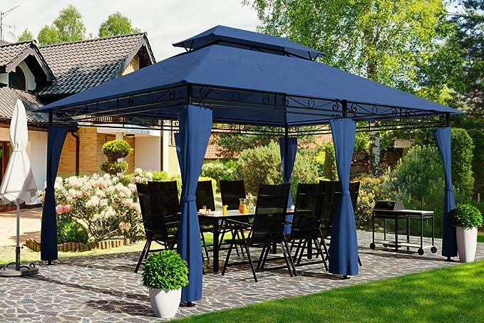 Deuba Pabellón de jardín Topas 3x4m paredes laterales carpa cenador exterior terraza fiestas cumpleaños azul: Amazon.es: Jardín