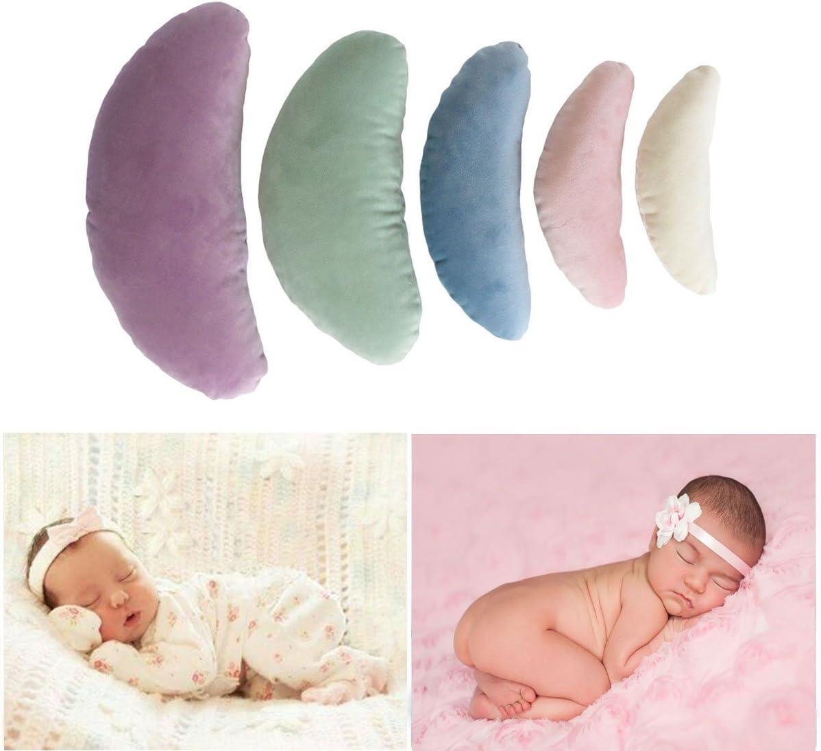 Tee-Moo 5 piezas de accesorios para fotografía de bebé recién nacido, posando media luna posando almohada relleno de seda accesorios Multicolor