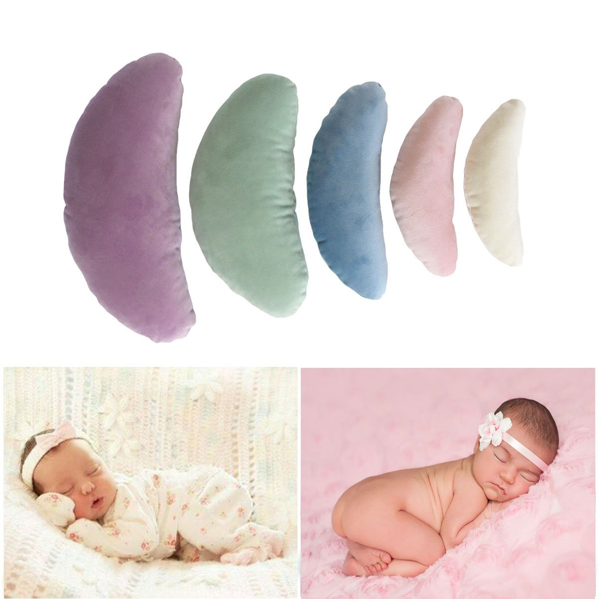 Tee-Moo 5 PCS Newborn Baby Photography Props, Crescent Posing Pillow Basket Filler Silk Props Multi-Color