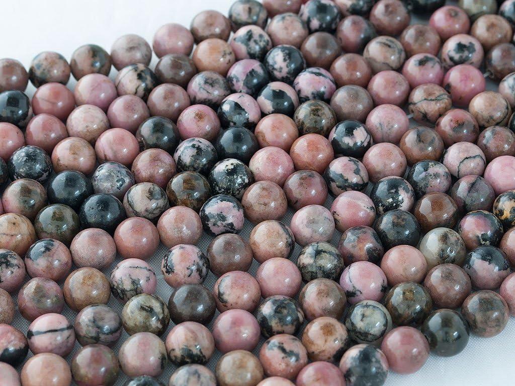 Beads Ok, Abalorios Cuentas Piedra Semipreciosa Rodonita Naturales Esferas Bola Redonda 8mm, Cerca de 38cm un Tira, Vendido por Tira. 8mm Round Natural Rhodonite Gemstone Beads