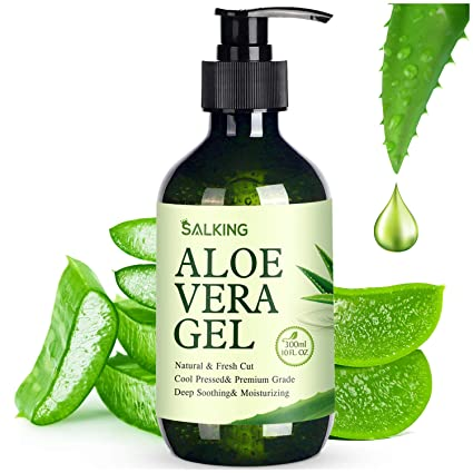 Amazon Com Aloe Vera Gel Salking 100 Aloe From Freshly Aloe Vera Plant Pure Aloe Vera Gel For Face Moisturizing Skin Hair Sunburn Relief Acne And Minor Itching 10 Oz Beauty