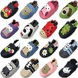 MiniFeet Chaussures Bébé en Cuir Souple - Chaussons Bébé - Chaussures Premiers Pas - 0-6, 6-12, 12-18, 18-24 Mois Et 2-3, 3-4 Ans