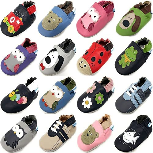 MiniFeet Lusso Scarpe di Bambino di Cuoio Molli, Verde Sandalo 12-18 Mesi