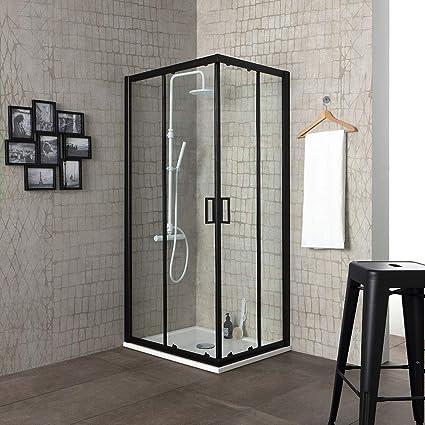 Mampara de ducha City 70 x 70 H 190 perfil negro mate cristal transparente: Amazon.es: Bricolaje y herramientas