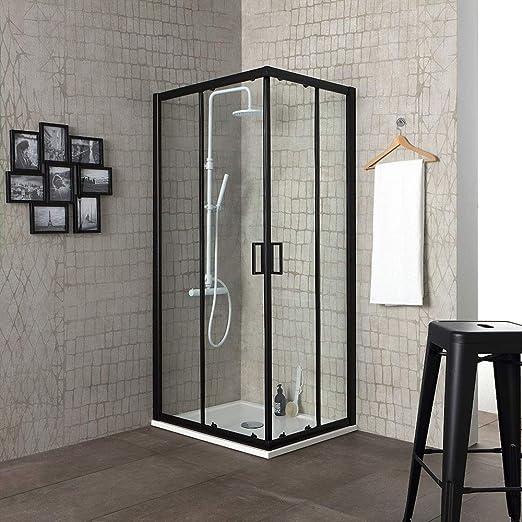 Mampara de ducha City 80 x 80 H 190 perfil negro mate cristal transparente: Amazon.es: Bricolaje y herramientas