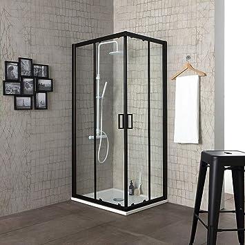 Mampara de ducha City 70 x 70 H 190 perfil negro mate cristal ...