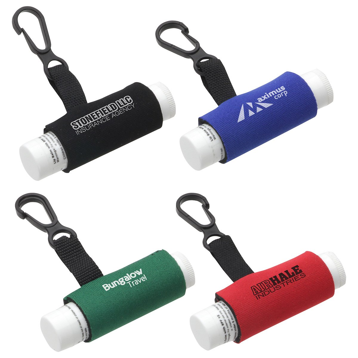 150 Personalized Clip-It Lip Balm Holder With Your Company Logo or Message