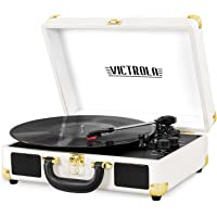 Innovative Technology Victrola Vintage 3-Speed Bluetooth Suitcase Turntable with Speakers, White