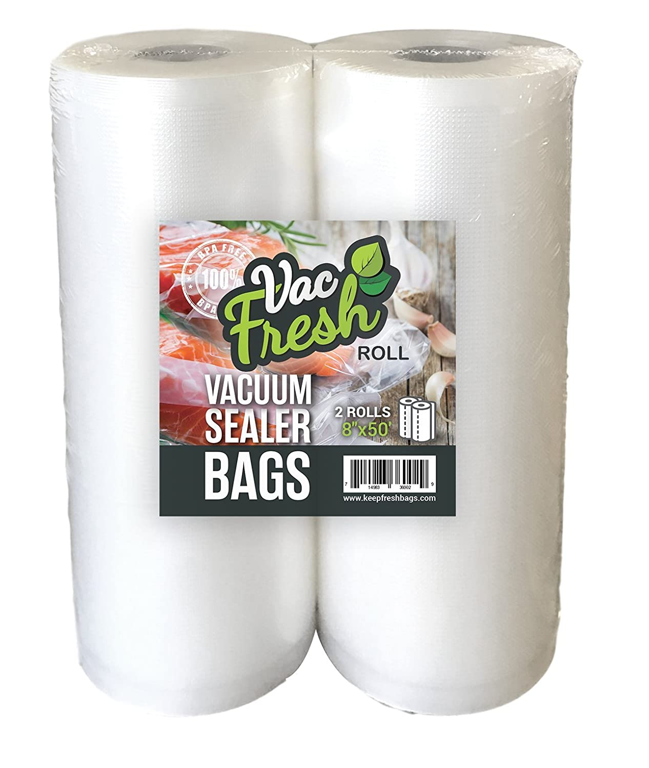 Vac-Fresh Roll 8x50 Vacuum Seal Bags 3.5mil for Food Vacuum Sealer Savers, 2 Rolls