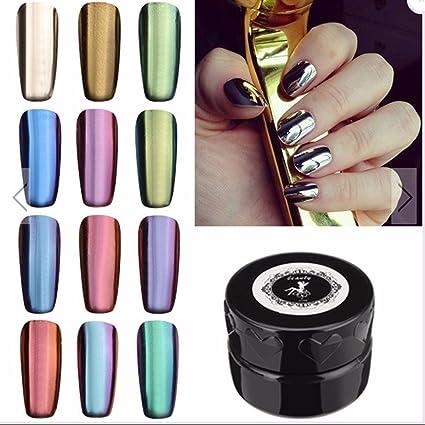 Espejo Polvo Juego Danc Ingnail 12 Colores Espejo Mágico