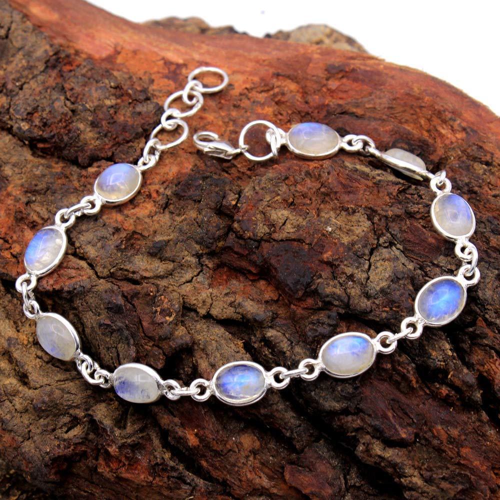 IJ - 05 Natural Rainbow Moonstone /& Pink Tourmaline Bracelet 925 Sterling Silver Plated Bracelet Ethnic Jewelry Handmade Bracelet