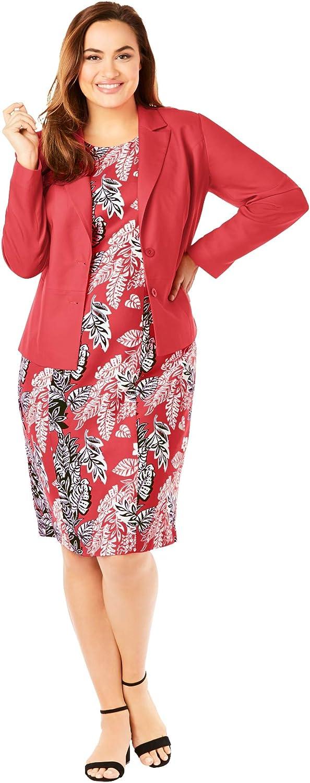 Jessica London Women's Plus Size Single Breasted Jacket Dress