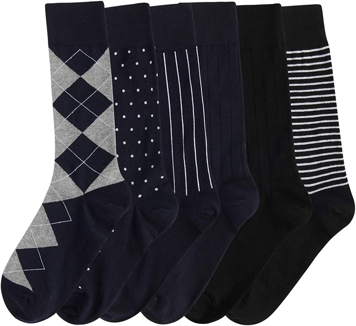 Heatuff Mens Cotton Dress Socks Comfortable Crew Seamless Toe Flat Sock 6 Pairs