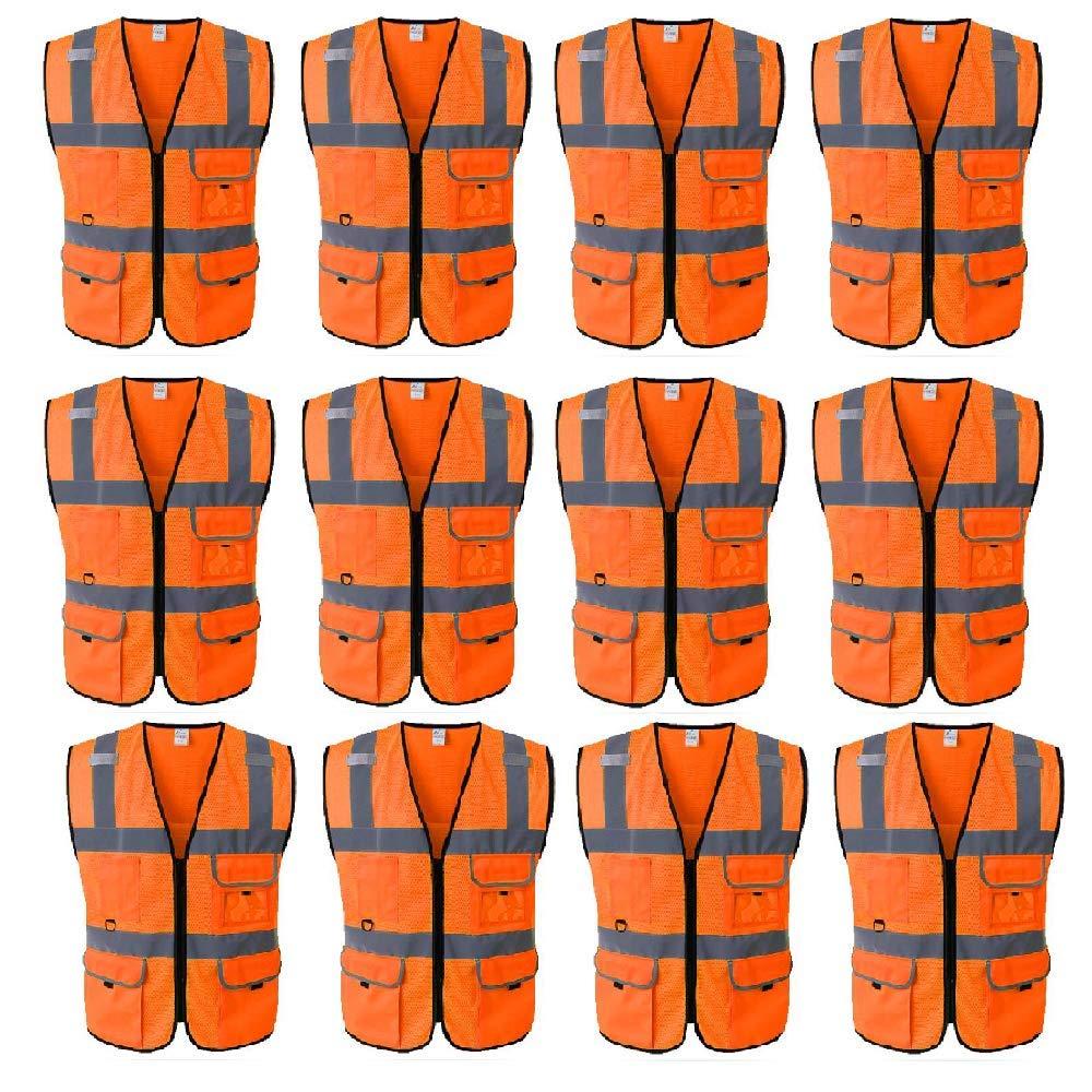 TOPTIEネオンオレンジ5ポケットメッシュ高視認性反射安全ベストANSI / ISEAクラス2卸売 - 12 Pack - M  B07QVL3H94