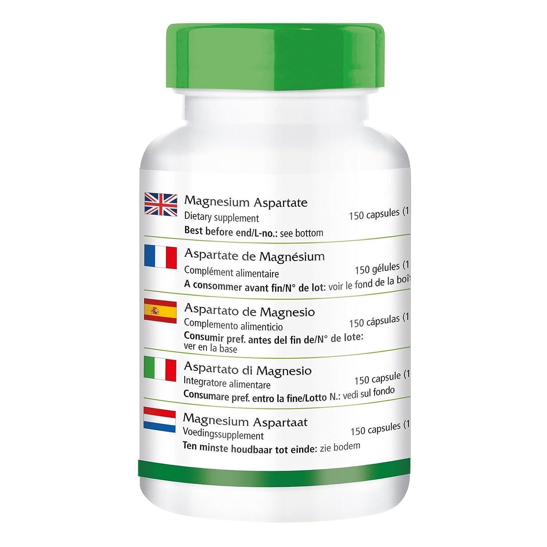 Aspartato de Magnesio - 1 mes - VEGAN - 150 cápsulas - mineral esencial: Amazon.es: Salud y cuidado personal
