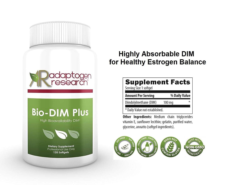 Adaptogen Research – Bio-DIM Plus – high bioavailability DIM – 100 mg diindolylmethane – without Soy – 120 softgels