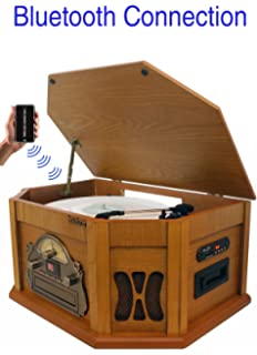 260162139848 8-in-1 Boytone BT-25PW with Bluetooth Connection Natural Wood Classic  Turntable