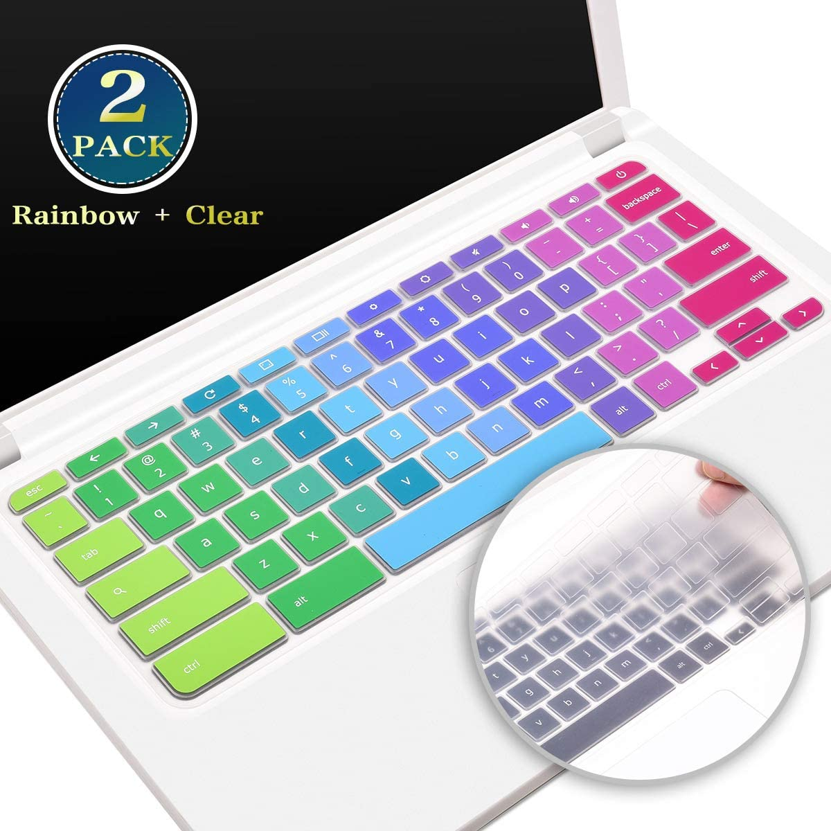 2 Pack Acer Chromebook 15 Keyboard Cover Skin for 15.6 Inch Acer Chromebook 15 CB5-571 CB3-532 CB3-531 Series, 14 Inch Acer Chromebook 14 CB3-431 CP5-471 Series Protector(Rainbow+Clear)