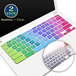 2 Pack Acer Chromebook 11 Keyboard Cover, Silicone Keyboard Skin for Acer Chromebook R11 CB5-132T, Acer Chromebook Spin 13 CP713, Acer Chromebook R13 CB5-312T(Rainbow+Clear)